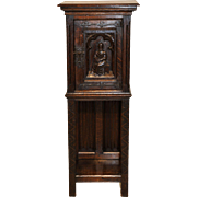 French Gothic Cabinet, Pedestal for Statue or Display Antique Oak with Carved Door