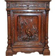 Antique French Hunt Cabinet Short Model Great for Bathroom Vanity Beautifully Carved
