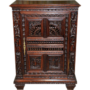 Antique French Breton Cabinet Small Model Great Bathroom Vanity Size Wonderful Carvings