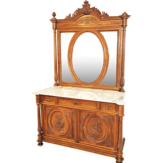 Antique French Dresser, Marble Top and Large Mirror, Turn of Century
