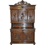 Terrific Antique French Hunt Cabinet, Animal Carvings Throughout, Oak, 19th Century