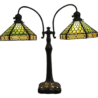Handel Arts & Crafts Double Student Lamp with Handel Overlay Fish Scale Shades
