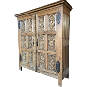 Vinntage French Renaissance Cabinet, Oak, Incredible Medieval Carvings
