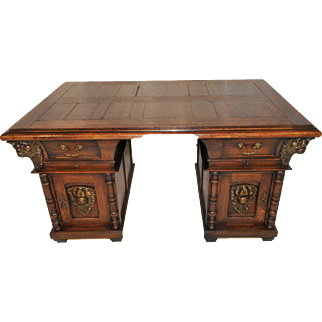 Striking French Oak Office Desk, Great Lion Details, 1920's