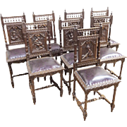 Distinctive set of 8 Antique French Breton Dining Chairs Oak with Leather Seats