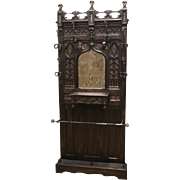 Beautiful and Well Carved Antique French Gothic Hall Rack / Hall Tree, Narrow, 1890's