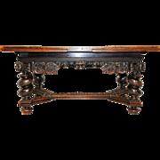 Antique German Dining Table, Writing Table or Desk, Barley Twist Legs, Circa 1910, Oak
