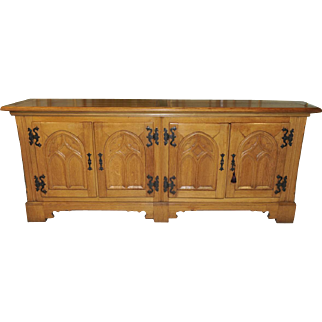 Vintage French Gothic Dining Room Server Solid Oak Rustic Country Design GREAT Value