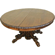 Antique Round French Hunt Table, Fabulous Carved Griffin Base, Oak, Pedestal Style Large Dining Surface