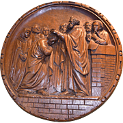 Antique Religious Church Panel Hand Carved St. Peter the Apostles French 19th Century