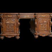 French Renaissance Partners Desk LARGE Wonderful Carved Model in Oak