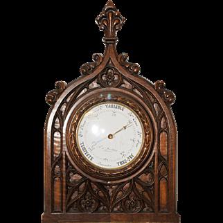 Antique French Gothic Barometer Walnut Circa 1890