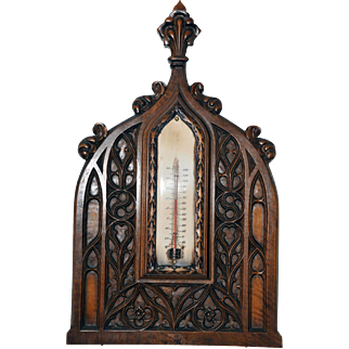 Antique French Gothic Thermometer in Walnut Circa 1890