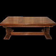 Large Antique French Renaissance Table, Trestle Style Carved Cherub Legs, 1890's