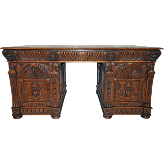 Antique French Renaissance Partners Desk, Great Carvings, Turn of the Century, Oak