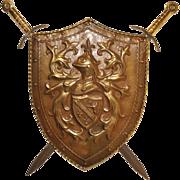 Attractive Copper Shield with Swords, Nice decorative piece, Circa 1950s