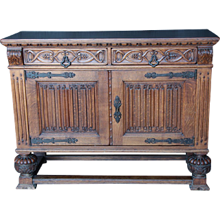 French Tudor Dining Cabinet Sideboard Chest Oak Circa 1920