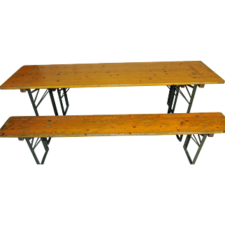 Rustic Beer Garden Table with 2 Benches GREAT Convenient Dining Package
