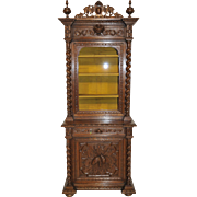 Attractive French Hunt Cabinet with Barley Twist, Narrow Model, 19th Century