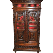 Antique French 2 Door Cabinet with Carved Battle Scene Art SPECIAL Model Uniquely Different