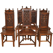 Antique French Gothic Dining Chairs Complete Set of 7, Six Side & One Arm Chair in Oak 19th Century