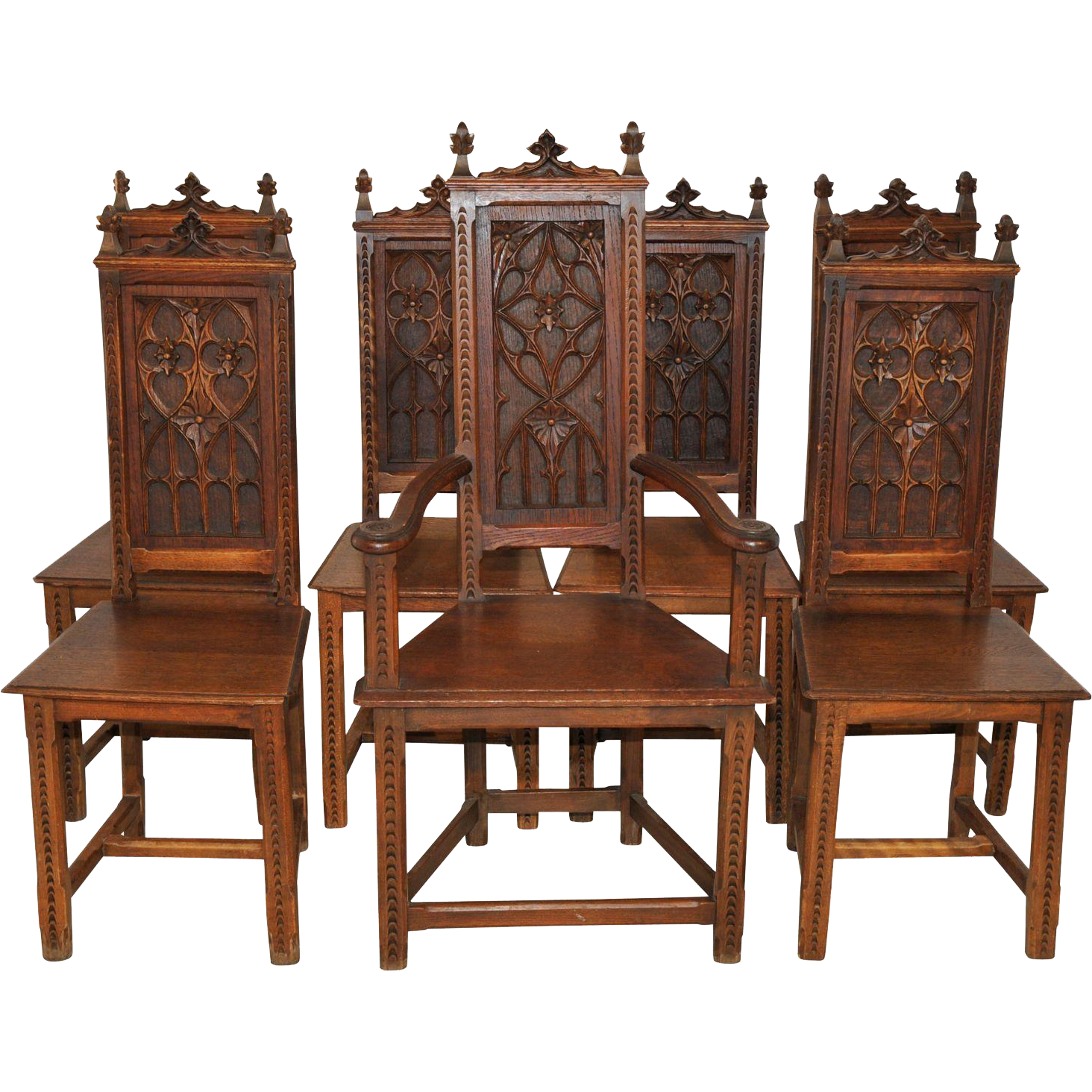 Antique French Gothic Dining Chairs Complete Set Of 7, Six