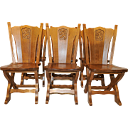 Attractive set of Six French Gothic Dining Chairs, Oak, 1950s