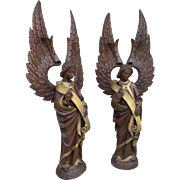 Antique Religious Church Altar French Gothic Angels a Matching Pair in Carved Wood 19th Century