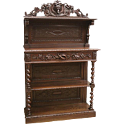 Antique French Hunt Server, Sideboard or Buffet, Barley Twist Carvings, 1890's