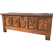 Large Rustic French Gothic Trunk with Medieval Carvings, Oak from the 1920s