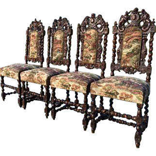 Attractive set of Four French Hunt Chairs, Barley Twist Carvings, Newly Covered