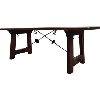 Vintage Spanish Dining Table with Iron Stretchers, Circa 1920's