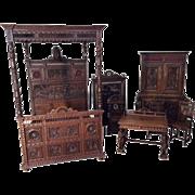 Opulent Antique French Breton Canopy Bedroom Set, Oak, Late 19th Century