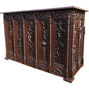 Elaborate Antique French Gothic Cabinet, Sideboard or Server, Oak, 19th Century