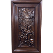 Large Wooden Gothic Panel with Monk, Walnut, Turn of the Century