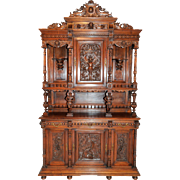 Opulent Antique French Gothic Jester Cabinet, Gothic Inspiration, Best Carvings, Walnut, Late 19th Century