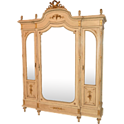 Lovely Antique Painted French Provincial Armoire, Circa 1910