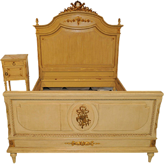 Lovely French Antique Painted Bed & Nightstand, Gold Accents, 1910's