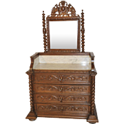 Antique French Hunt Dresser with Mirror, Marble Top, Barley Twist