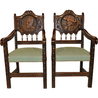 Special Set of 2 French Breton Arm Chairs, 1920's