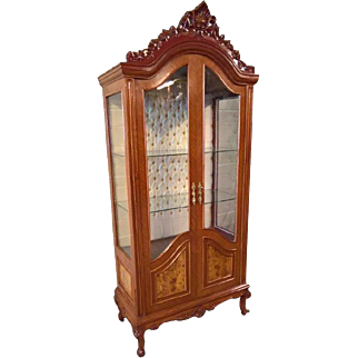 Vintage Italian Baroque China or Display Cabinet, Glass Shelves, 1960's
