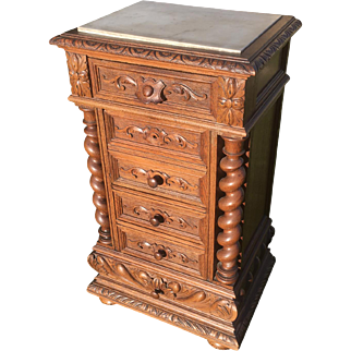 Terrific Antique French Hunt Stand or Occasional Table, Barley Twist Carvings, Oak