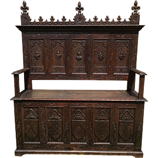 Terrific French Gothic Antique Bench, 19th Century, Storage, Oak