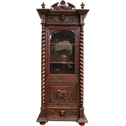Marvelous Antique French Hunt Bookcase or Cabinet, Narrow Model