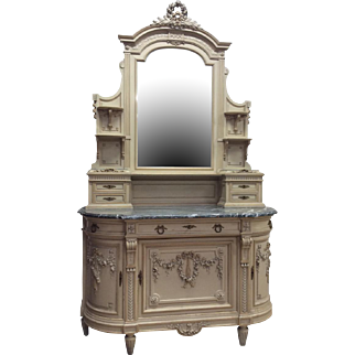Outstanding French Louis XV Marble Top Painted Dresser, Turn of Century