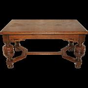 French Tudor Dining Table, Parquet Top, circa 1940-50's