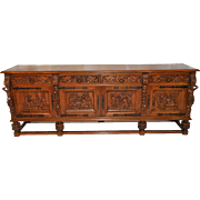 Ornate Bruegal Design Server, Buffet or Sideboard. Heavily Carved French Renaissance Influence