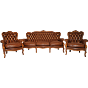 3 Piece Provincial Brown Leather Salon set, Sofa & 2 Chairs