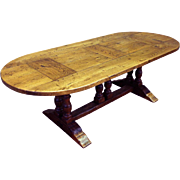 Vintage French Country Farm Table, Rustic, Very Sturdy, Oak