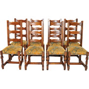 Sturdy set of 8 French Ladder back chairs, Solid Oak